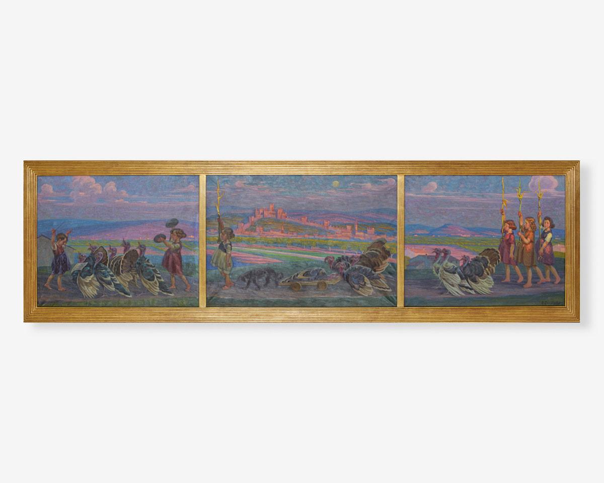 ALESSANDRO-ZENATELLO-TRITTICO-OLIO-SU-TELA-IL-FUNERALE-DEL-TACCHINO-1920