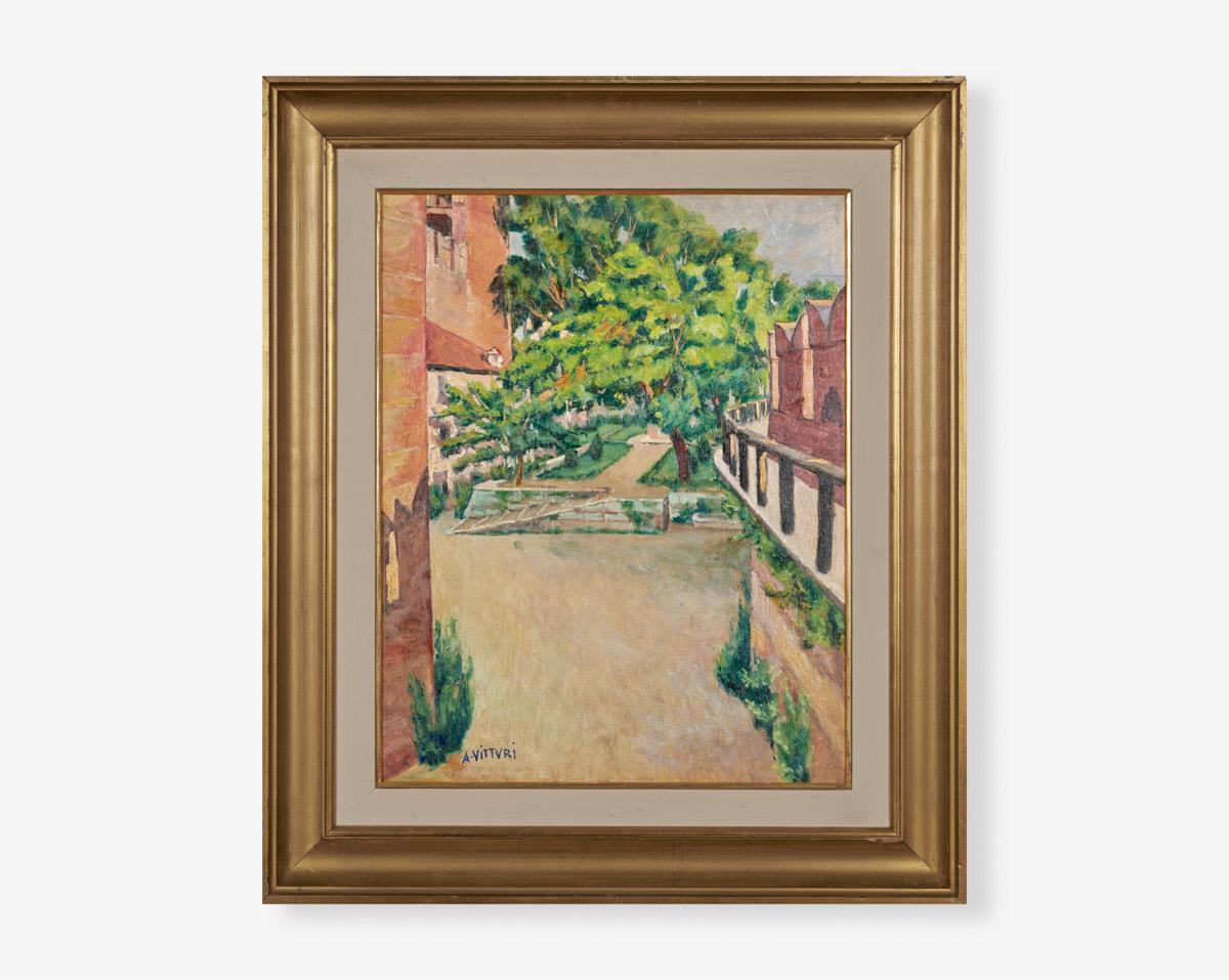 Albano-vitturi_interno-di-castel-vecchio-43×54-1950-olio-su-tavola