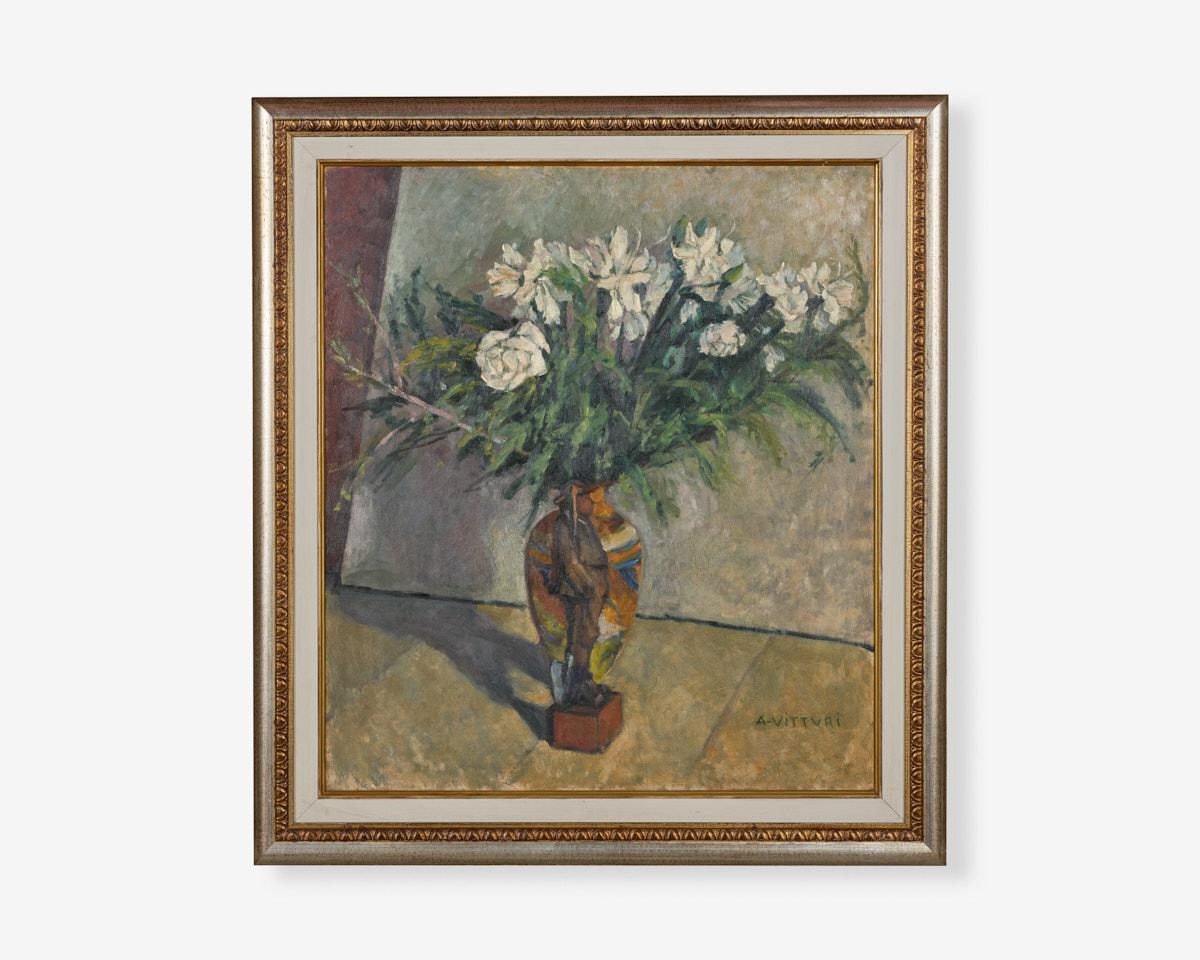 Albano-vitturi_vaso-di-fiori-con-soldatino52x59_1930-olio-su-tavola
