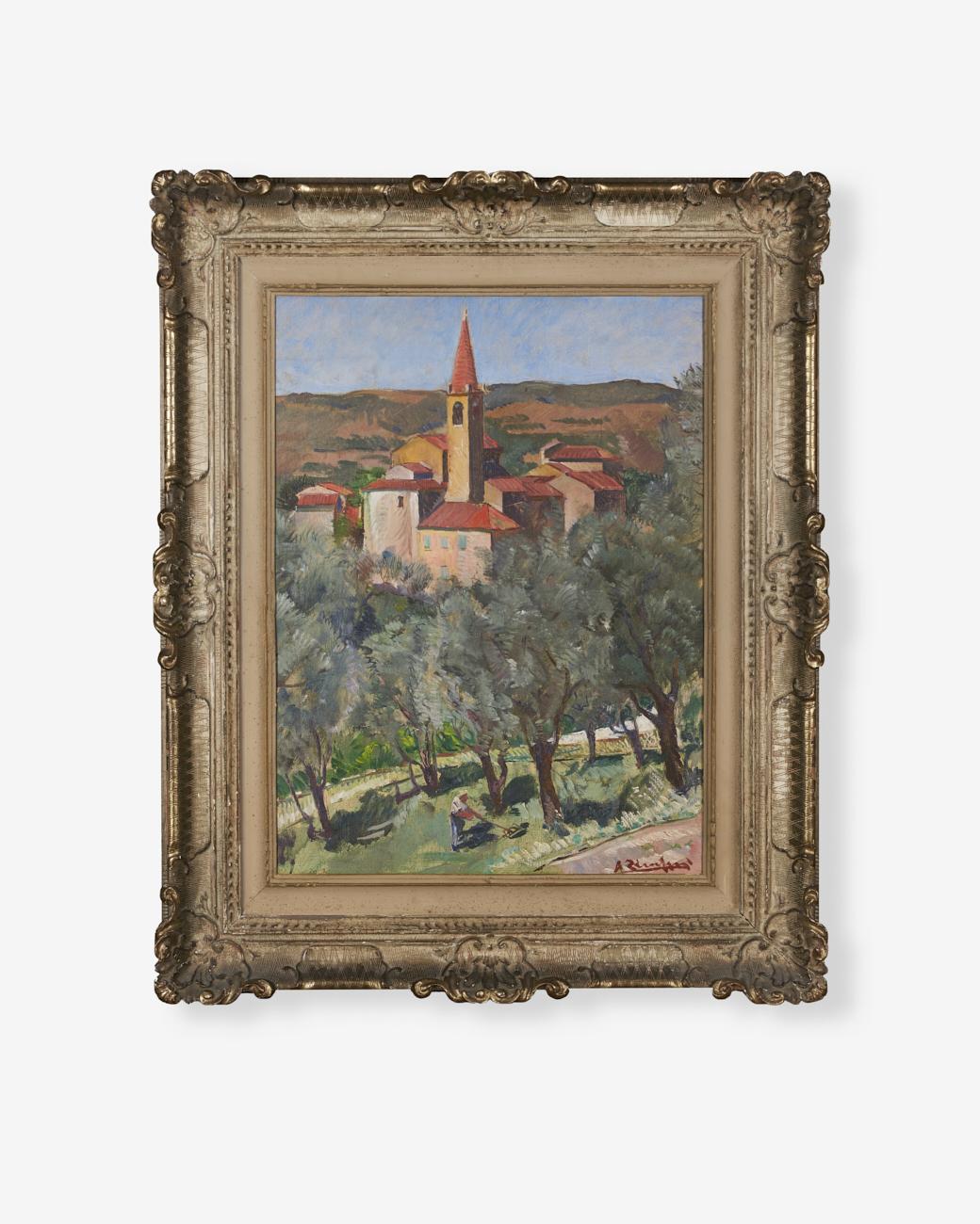 Angelo-Zamboni_olio-su-tavola_fra-gli-ulivi_45x70_1928
